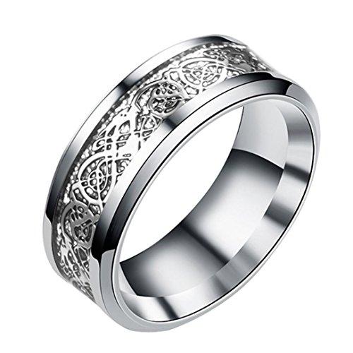 BEUU Dragon Pattern Ring Women Men Bohemian Vintage Silver Stack Totem Rings Above Knuckle (Silver, 8)