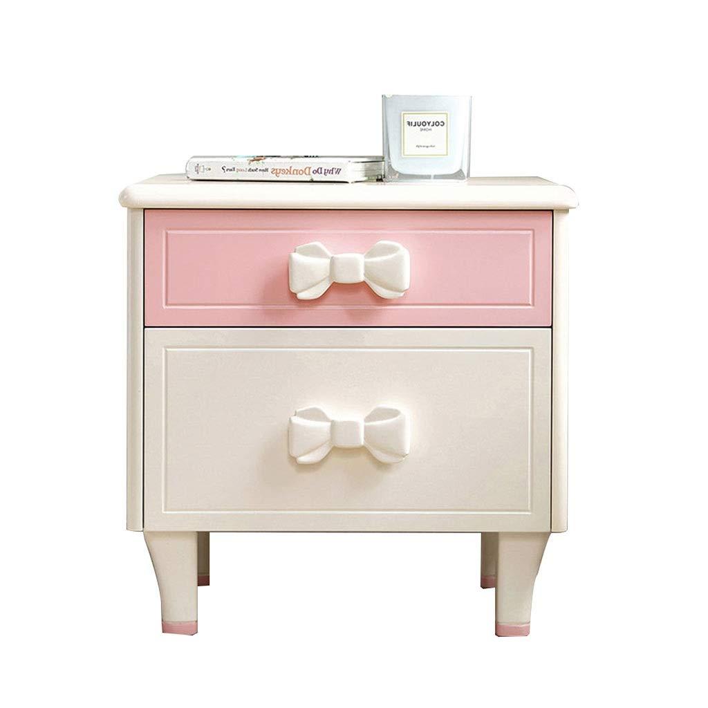 Nachttische Möbel Massivholz Schließfach for Kinderzimmerdekoration Nachtschubladenschrank abgerundete Eckschrank (Color : Weiß, Size : 47 * 40 * 49cm)