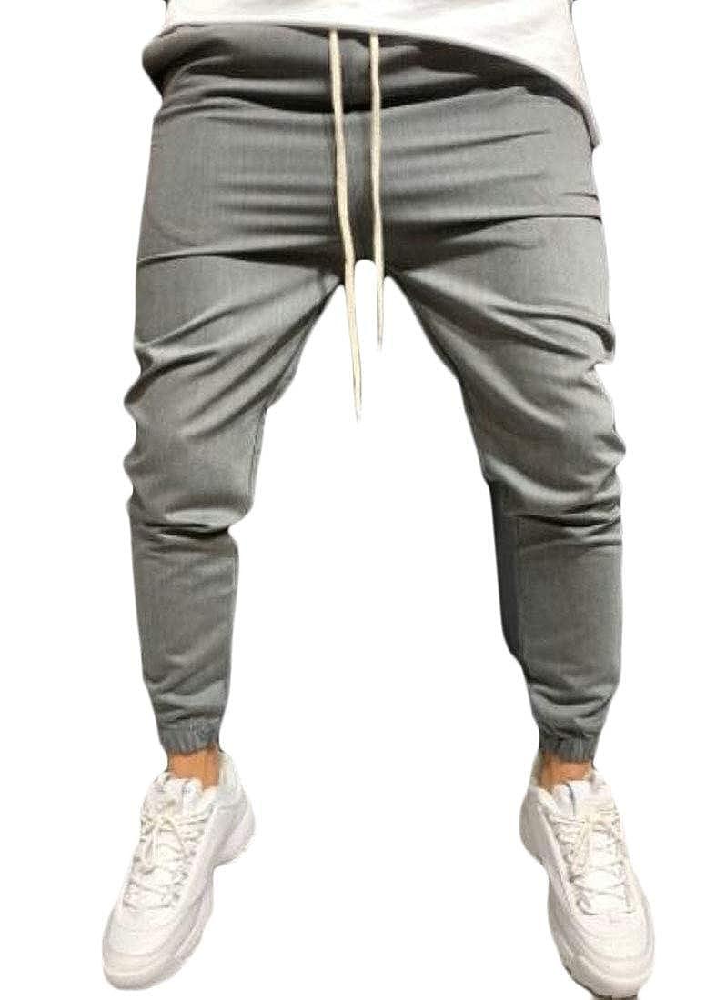 pipigo Mens Casual Solid Color Cargo Drawstring Outdoor Jogger Pants Sweatpants
