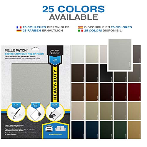 Pelle Patch - Leather & Vinyl Adhesive Repair Patch - 25 Colors Available - Heavy-Duty 8x11 - Light Grey