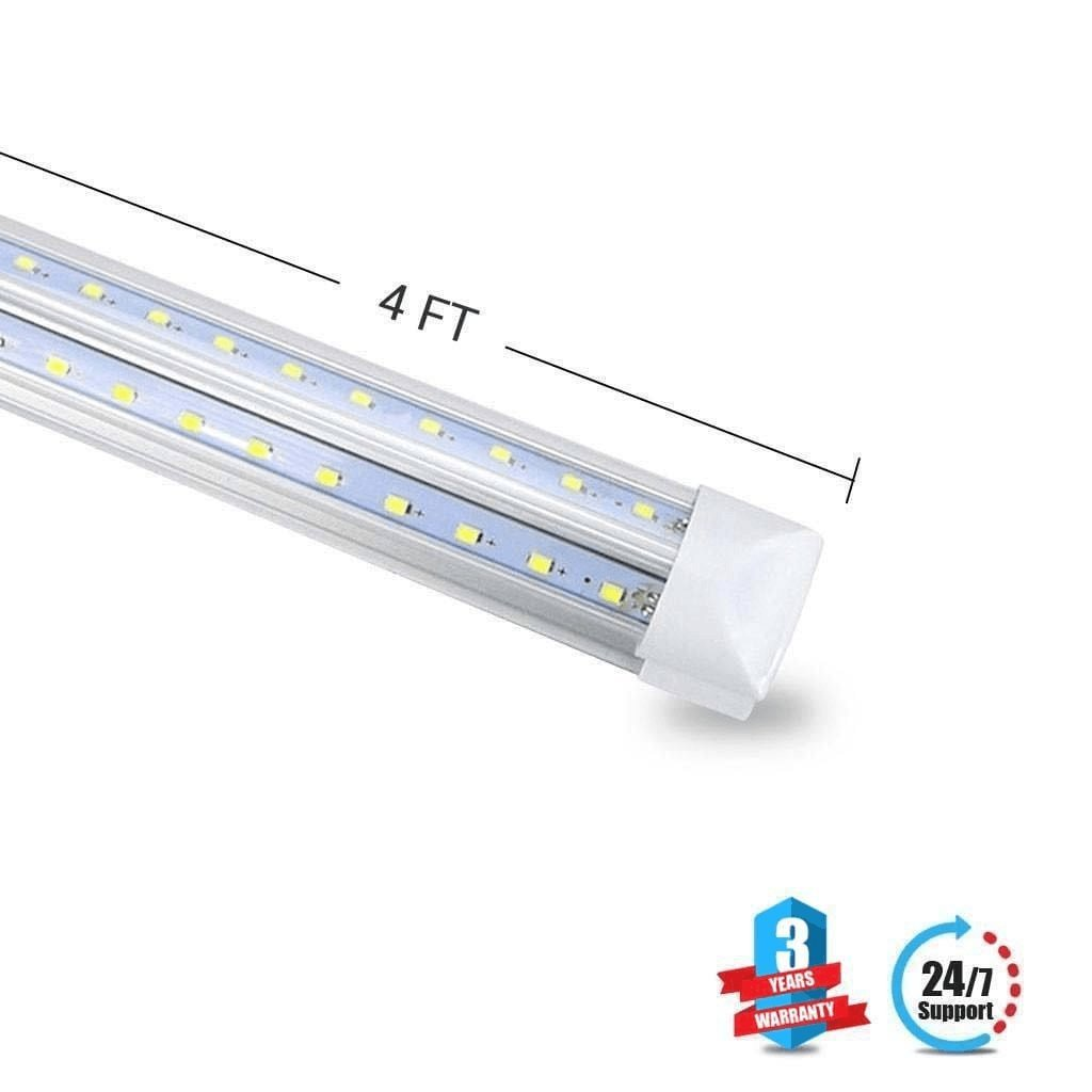 T8 4ft V Shape Integrated 2 Rowed Led Tube Light 22w Replaces 60w Wiring Fluorescent Lights To A Plug 6500k Crystal White Clear Lens Cover Works Without Ballast 1 Pack