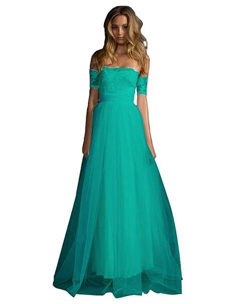 Baymate Mujer Vestidos de Noche Sin tirantes Elegante Vestidos de Fiesta Encaje Vintage Largos Vestido de