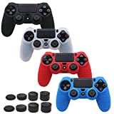 Pandaren STUDDED Anti-slip Silicone Cover Skin Set for PS4 /SLIM /PRO controller(controller skin x 4 + FPS PRO Thumb Grips x 8)(Black,White,Red,Blue)