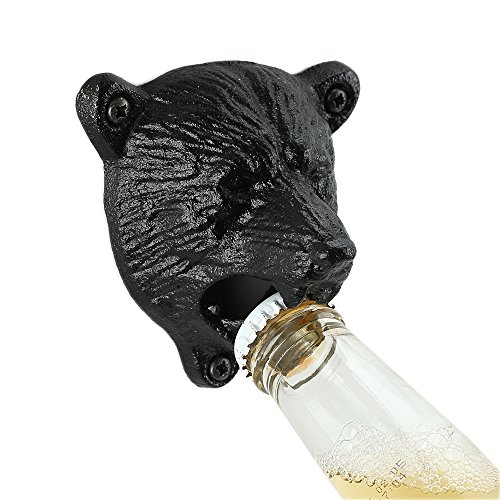Bear Opener - QLL Solid Bear Teeth Bite Bottle Opener, Wall Mounted Bottle Opener with Two Screws