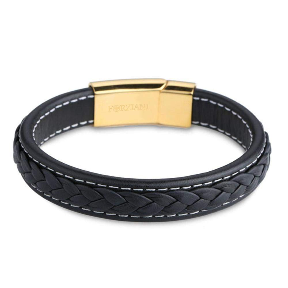 FORZIANI Woven Black Nappa Leather Bracelet for Men with 14K Gold Plated Clasp in 316L Stainless Steel - Large - Luxury Gift Packaging Included