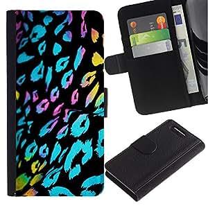 A-type (Ultraviolet Fur Leopard Pattern Black Blue) Colorida Impresión Funda Cuero Monedero Caja Bolsa Cubierta Caja Piel Card Slots Para Sony Sony Xperia Z1 Compact / Z1 Mini (Not Z1)