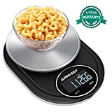 AIWOGEP Food Scale for Cooking, Multifunction High Accuracy Digital Kitchen Scale Weights Grams and Ounces, 11 lb, 0.004 oz Division, Stainless Steel, Black