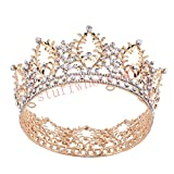 Stuffwholesale Gold Crown Crystal Rhinestone Women's Tiara Prom Party Hair Jewelry