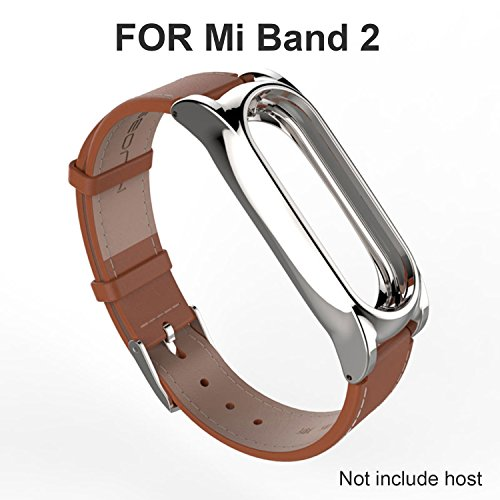 GUYO miband 2 strap leather Replacement Strap Wristband Accessories for Xiaomi Mi Band 2 Genuine leather Replacement Smart WatchBand with Magnetic Suction Shell(Original Fashion Design) Leather Brown