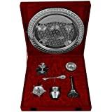 "Kapasi Handicrafts Brass [Silver coated] Set Of Pooja Plate Pooja Article ( L X B X H ) 10.25"" x 10.25"" x 4.25"" Inches"