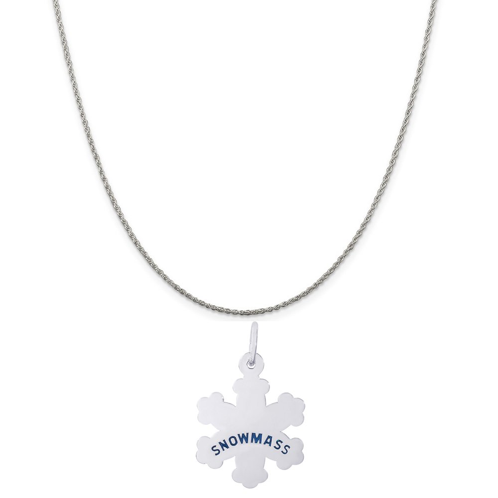 Box or Curb Chain Necklace 18 or 20 inch Rope Rembrandt Charms Sterling Silver Snowmass Snowflake Charm on a 16