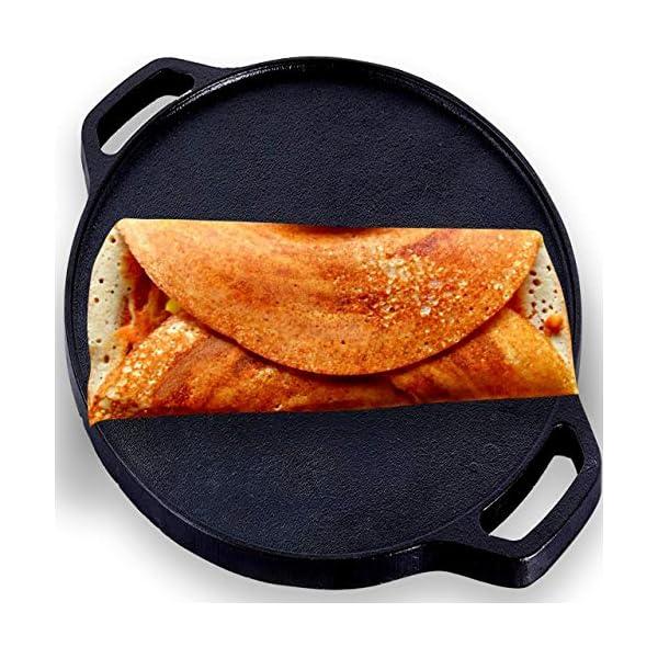 Roston Cast Iron Tawa Dosa   Cookware Flat Vessel Pre Seasoned   Ideal for Cooking Dosa Chapati Pizza Roti Thava(Thava…