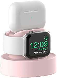 Sokusin Charger Stand for Apple Watch 38mm 40mm 42mm 44mm iWatch 1/2 /3/4 /5/6 /SE, Apple Watch Charging Stand Holder and Night Stand Mode, AirPods Pro Charger Dock,Pink【Cables NOT Included】