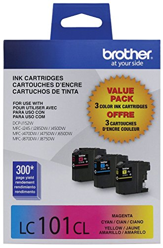 Brother Printer Innobella LC1013PKS LC101 3pack Standard Yield Color Ink (2 Pack) (Brother Printer Lc101)