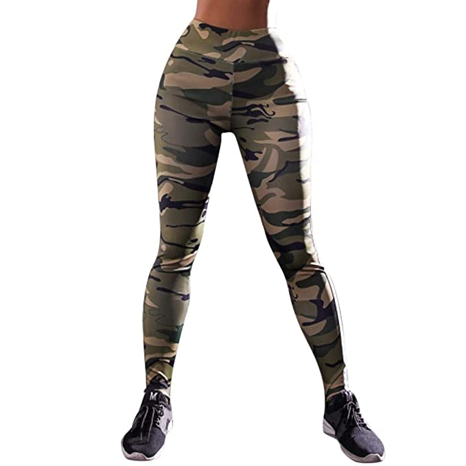 SHOBDW Pantalones Mujer Moda Camuflaje Imprimir Cool Print Cintura ...