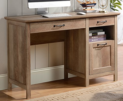 (HOMESTAR Bianca 3 Drawer Single Pedestal Desk in Reclaimed Wood Finish)