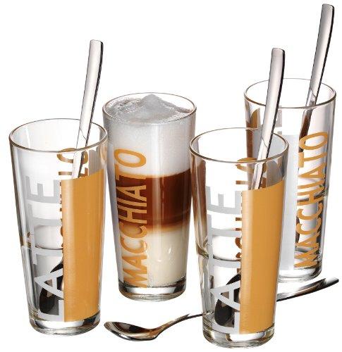 Ritzenhoff & Breker 115543 Latte Macchiato Gläser Java mit Löffel, 8-teilig