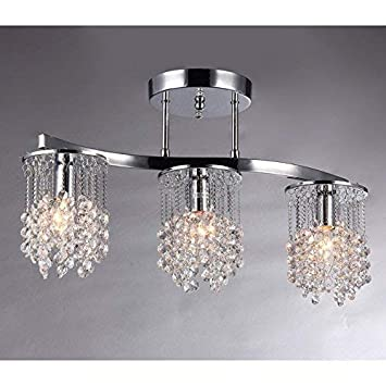 Whse of Tiffany 6719 3 Clee 3-Light Chrome 20 Crystal Chandelier, 22 , Chrome