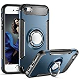 iPhone 5S Case,iPhone SE Case,Aemotoy Protective Case W 360 Degrees Ring Kickstand Metal Plate Bracket Holster Defender Dual Layer Anti-Drop Anti-Scratch Phone Cover for iPhone 5 5S 5G SE (Navy Blue)