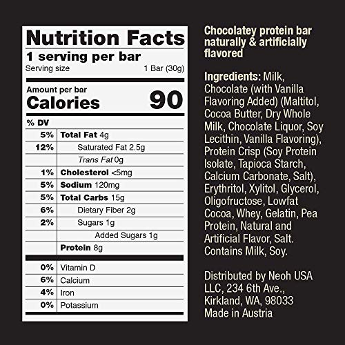 NEOH Low Carb Protein & Candy Bar - Low Sugar Keto Snack (1g), 90 cals, 8g Protein (Chocolate Crunch 12-Pack) - Gluten Free by NEOH (Image #4)