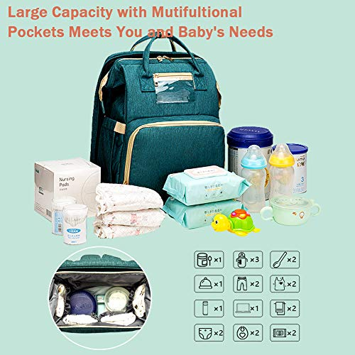 51WC7OvSAVL - Cosy Casa Baby Travel Diaper Bag Backpack With Bassinet Changing Mat Changing Station,Folding Crib Bag Foldable Mommy Bag For Baby Girl Boy Infant Mom Diaper-Bag-Backpack-Baby-Travel(Green)