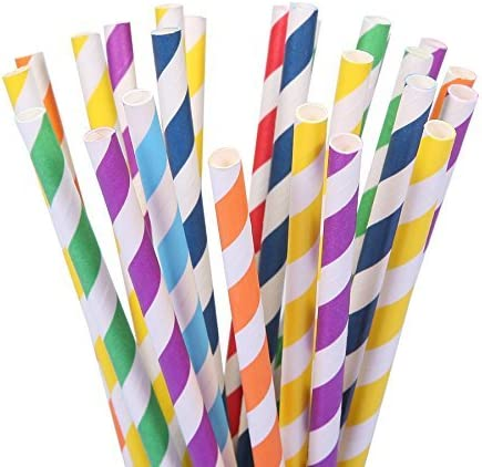 Assorted Rainbow Colors Striped Drinking Straws for Juice Coffee,Soda Cocktail Smoothies,Celebration Parties and Arts Crafts Projects Milkshakes 100PCS Biodegradable Paper Straws Bulk shakes