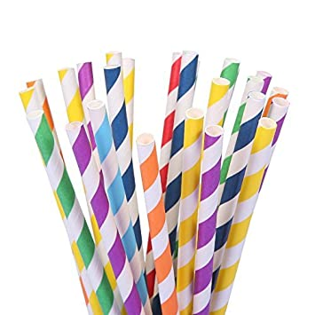 Amazon.com: 175 pajitas de papel multicolor arco iris, para ...