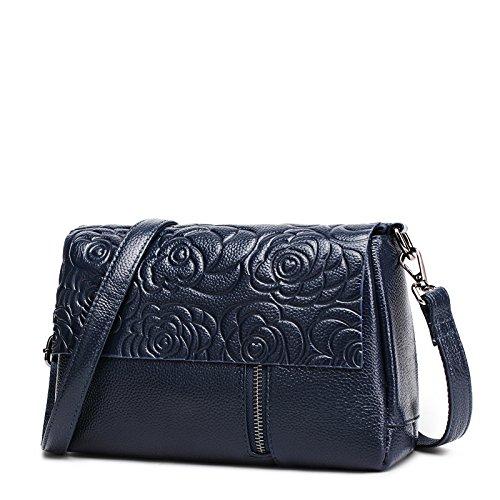 Femme cuir Noir capacité vache grande main Sac en dames petit sac simple Petite Blue obliquité LANDONA Sac Place Sac sac à sac Navy Peau de qBOww