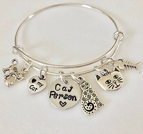 Cat Bangle, Pewter Cat Charm Bracelet, Cat Person Jewelry, Cat Mom Bangle, Cat Lover Gift, Cat Rescue, Animal Lover, Custom Stamped, -