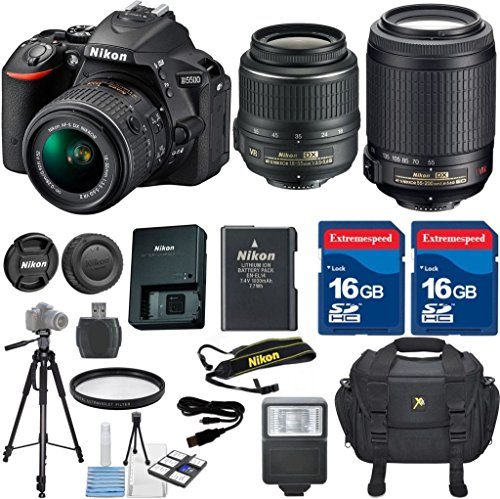 Nikon D5500 DSLR Camera Body Celltime Exclusive Bundle with Nikon 18-55mm VR Lens  Nikon 55-200mm VR Lens  HD U.V. Filter  Deluxe Camera Case  Celltime 6pc Starter Kit  Full Size Tripod  Electronic Flash  2pcs 16GB Commander Extremespeed Memory ...