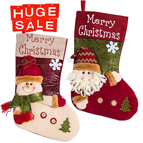 Plush Large Christmas Stocking (3D Plush Classic Christmas Stockings Christmas Party Decoration Gift Bag Christmas Stocking, 2 Pack 18