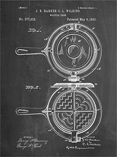 Great Art Now Chalkboard Waffle Iron Patent by Cole Borders Laminated Art Print, 9 x 12 inches