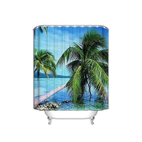 JANNINSE Vacation Beach Palm Tree Theme Set Sun Shower Curtain Thickness Thickness Waterproof Mildew Mildew-66X72 (Inch)