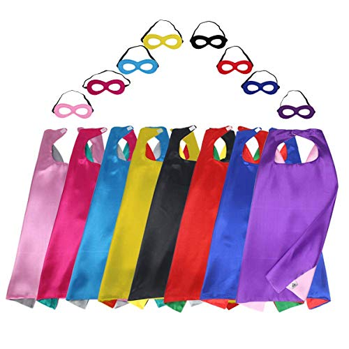 - iROLEWIN Superhero Capes for Kids with Masks Dress Up Costumes - Boys Girls Super Hero Party Favors, 8 Pack