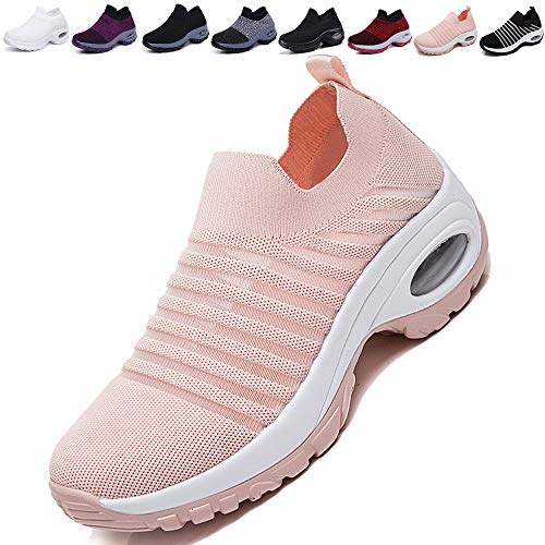 Pink Platforms Wedges Shoes - K&T Womens Cushion Walking Shoes Sock Sneakers Tennis Shoes Mesh Slip On Loafers Lightweight Fashion Nursing Girls Wedge Platform Dance Shoes Pink