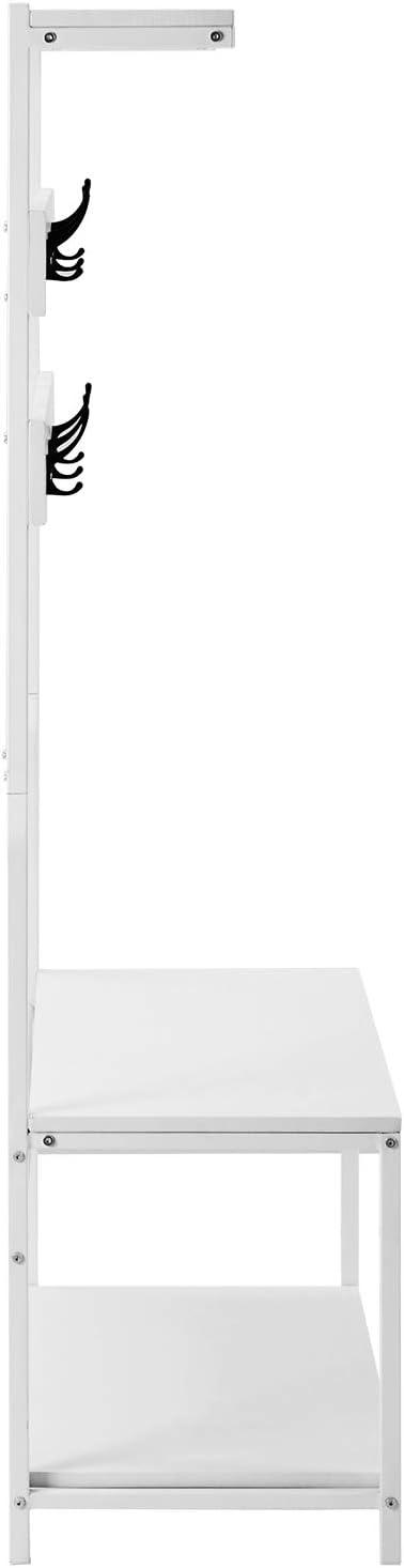 Portemanteau avec 6 Crochets avec Banc Armature M/étallique 150 cm Blanc//Marron Garde-Robe Meuble d/' entr/ée avec /Étag/ère /à Chaussures Stable Vestiaire FlyingShadow Porte-Manteau Blanc