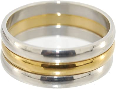 21mm Inside Size 11.5 Heavy Metal Series Stainless Steel Rings Mirror Finish 3 Triple Separate Rings Golden Anodized