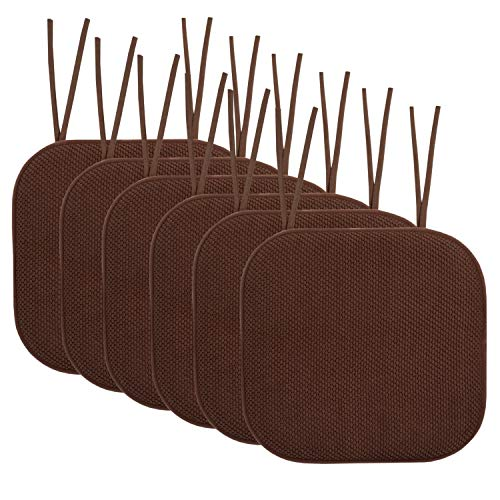 """Sweet Home Collection Chair Cushion Memory Foam Pads with Ties Honeycomb Pattern Slip Non Skid Rubber Back Rounded Square 16"""" x 16"""" Seat Cover, 6 Pack, Chocolate Brown"""