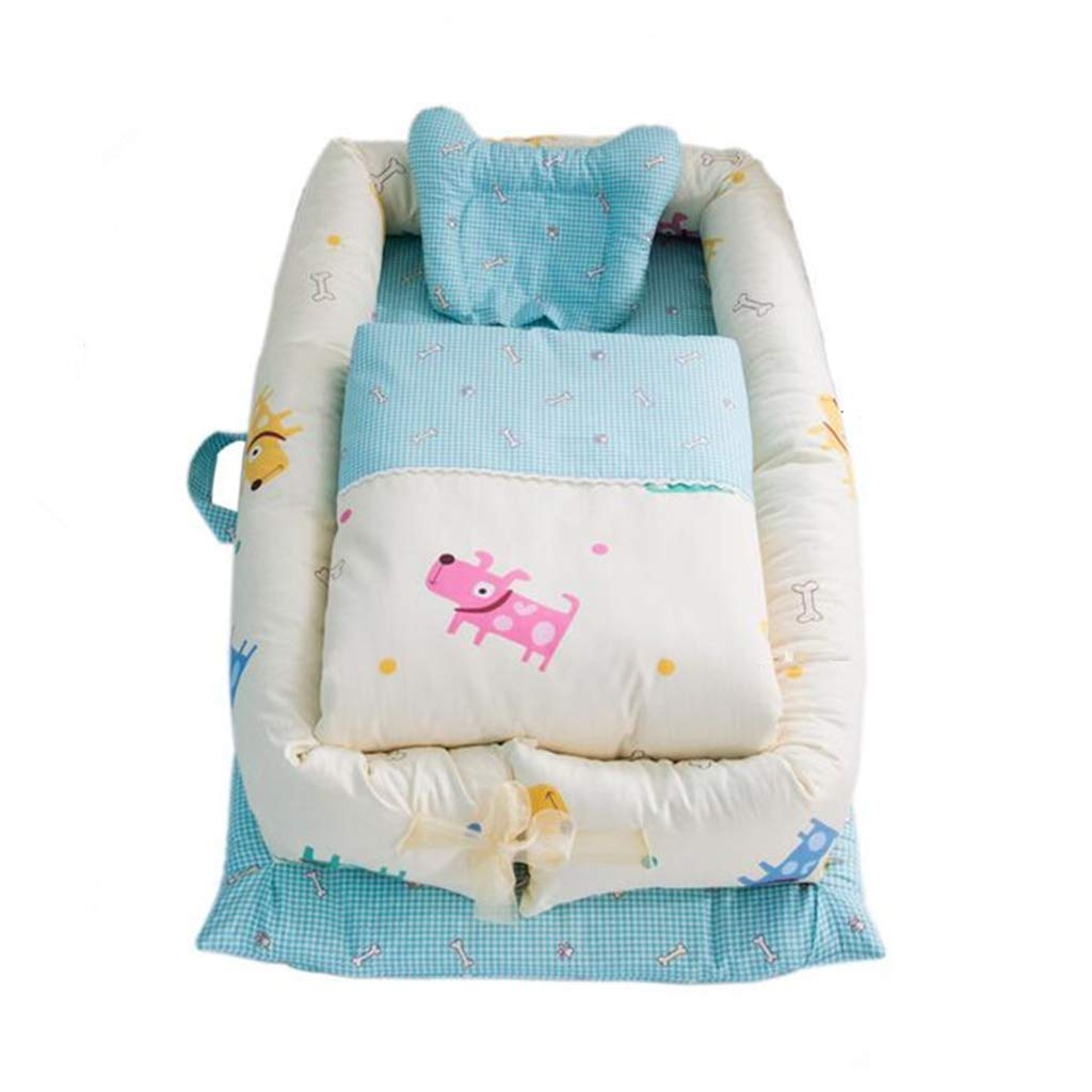 bluee 90x55x15cm Multifunctional Portable Bionic Bed Travel Cots Anti-Pressure Cot Comfortable Crib Sleeping Pod Sleeping Mat Cradles (color   bluee, Size   90x55x15cm)