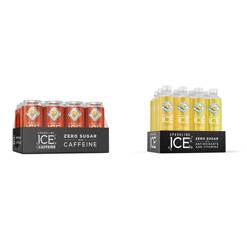 Sparkling Ice +Caffeine Orange Passion Fruit Sparkling Water, with Antioxidants and Vitamins, 16 fl oz Cans (Pack of 12) & , Coconut Pineapple Sparkling Water, 17 fl oz Bottles (Pack of 12)