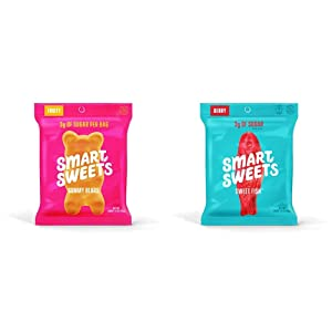 SmartSweets Gummy Bears Fruity Candy With Low-Sugar (3g) & Low Calorie (90) 1.8 Ounce (Pack of 12) & Sweetfish 1.8 Ounce Bags (12 Count), Candy With Low-Sugar (3g) & Low Calorie (80)