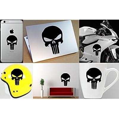 The Punisher Skull Vinyl Sticker Decal (5''x4'', Black) (Original Version): Everything Else