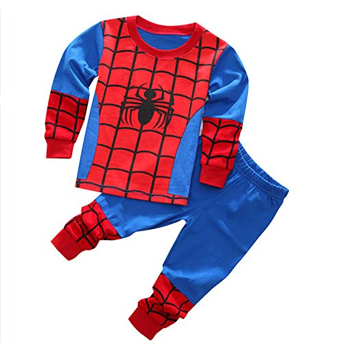 Elakaka Spiderman Pajamas,Sspiderman Homecoming Costume Kid Cotton Cartoon Sleepwears ()
