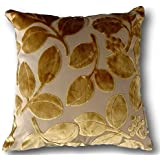 tache 2 piece 18 x 18 inch square velvety golden boughs of holly cushion throw pillow cover set - Gold Decorative Pillows