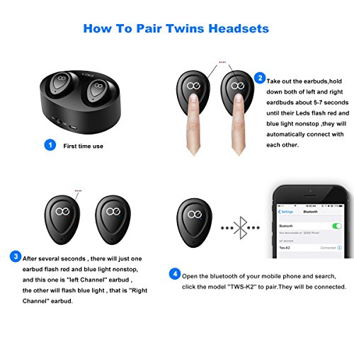 bluetooth headphones losei dual wireless earbuds true mini twins stereo bluetooth headset v4 1. Black Bedroom Furniture Sets. Home Design Ideas
