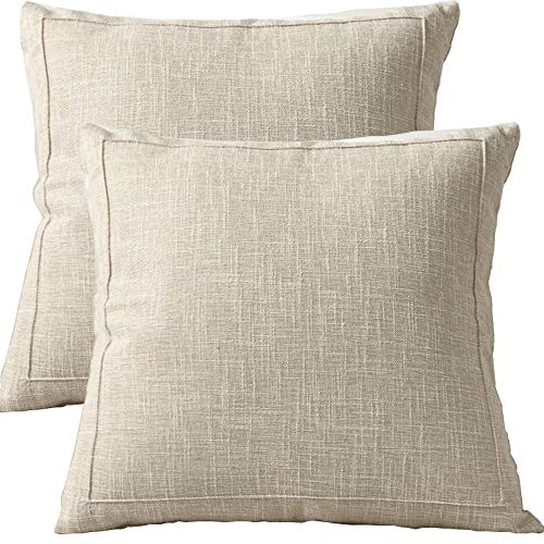CAREMORE Decorative Linen Blank Throw Pillow Covers Set of 2, Modern Striped Soft Neutral Square Décor Light Cushion Throw Pillow Cases, for Sofa Bed Couch Bedroom 18x18 -