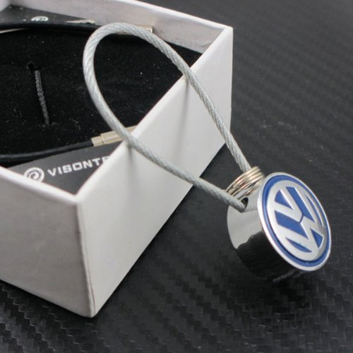 VW Volkswagen Metal Blue Logo Wire Cable Keychain with Gift Box