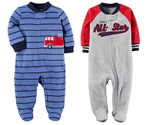 Carter's Baby Toddler Boy's 2 Pack Fleece Footed Pajama Sleep and Play Set (3 Months, Zipper Closure - Red and Grey All Star and Blue Stripe Fire Engine)