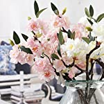 JAROWN-5-Pcs-Silk-Cherry-Blossom-Artificial-Flowers-Branch-Silk-Sakura-Flower-Plants-for-Home-Crafts-Decoration-White