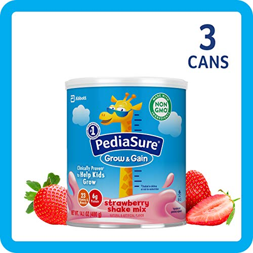 Real Gains Strawberry - PediaSure Grow & Gain Strawberry Shake Mix, Nutrition Shake for Kids, 14.1 oz, 3 count